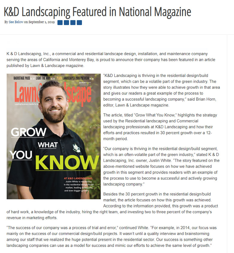 K&D Landscaping Featured in National Magazine